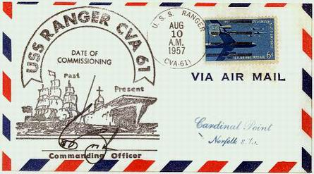 USS Ranger CVA 61 First Day Cover (Commissioning Date) August 10, 1957 - submitted by Jim Stevens